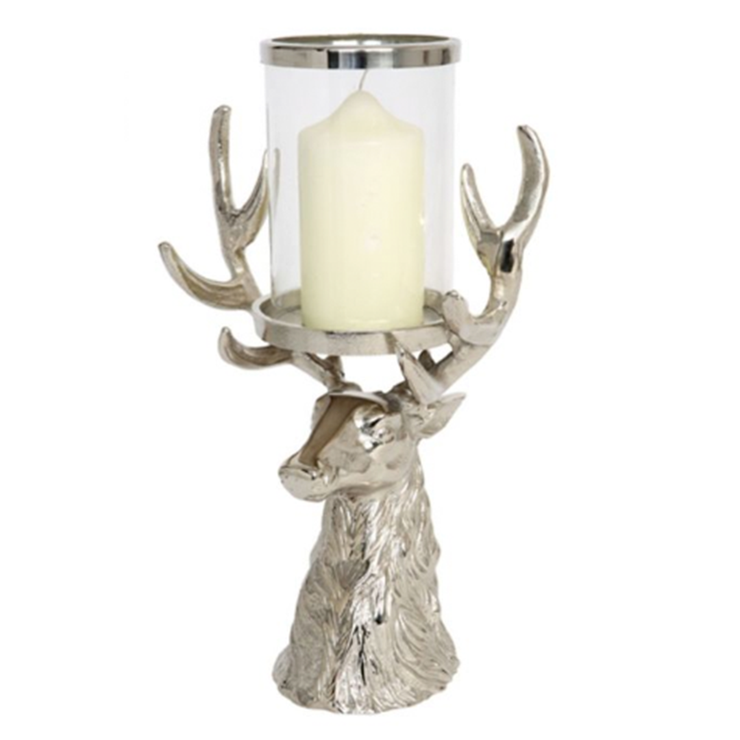 Culinary Concept Stag Head Antler Hurricane Lantern