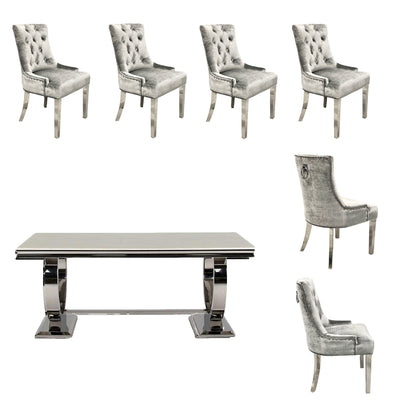 Arianna Dining Table & 6 x Small Silver Belvedere Dining Chairs