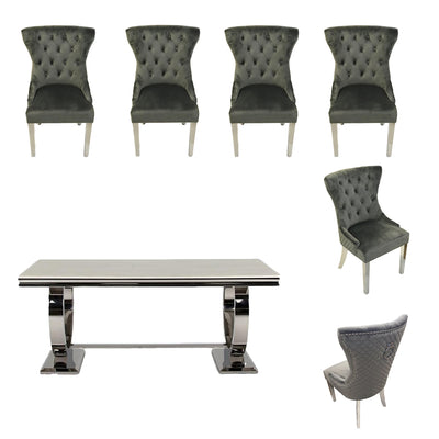Arianna Dining Table & 6 x Grey Velvet Wingback Chairs