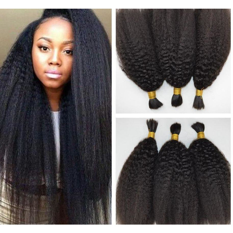 3 Bundles! Kinky Straight Bulk 100% Human Hair for Braiding