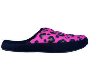 hot pink leopard ladies slippers Coma Toes sneaker sole slippers