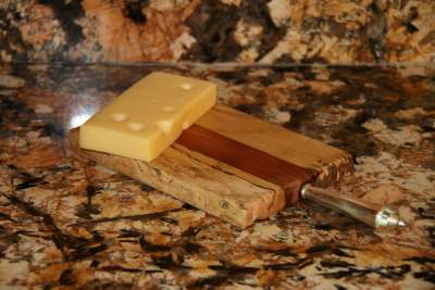 Multi-wood cheese Board with Handle
