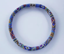 Load image into Gallery viewer, Criss Cross Blue Beaded Necklace