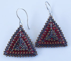 Gunmetal  Triangle Earrings