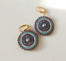 Load image into Gallery viewer, Brick Stitch Disc Earrings