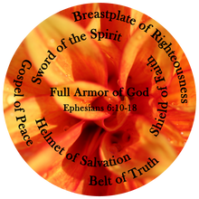 Load image into Gallery viewer, The Full Armor of God, Ephesians 6:10-18, Bible Verse, Orange Flower Shirt.