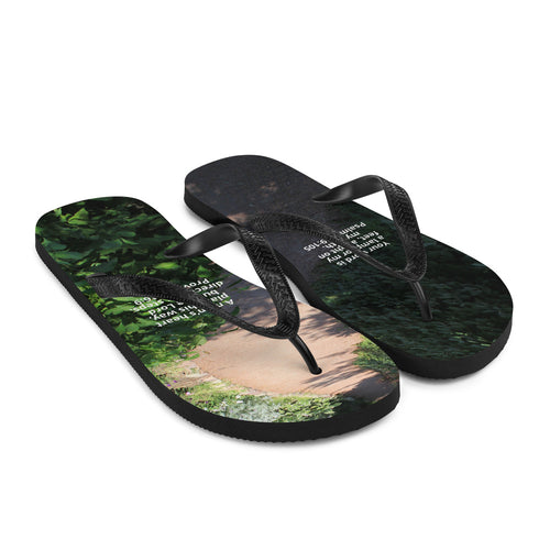 Flip-Flops, Bible Verse Scripture on path, Christian Faith, Jesus - Flipflops. A man's heart plans his way, but the Lord directs his steps, Proverbs 16:9.  Your word is a lamp for my feet, a light on my path,  Psalm 119:105 -  Flip Flops.