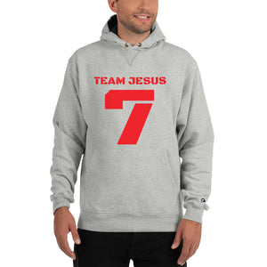 Team Jesus, a Champion Hoodie.  Classic Vintage/Faded Text