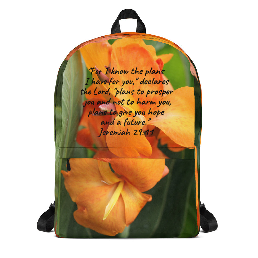 Beautiful Backpack, (Lily Flower Bible Verse, Jeremiah 29:11 Backpack) ~ an OFOX Original