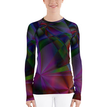 Load image into Gallery viewer, Stain Glass Design with Cross, Women's Rash Guard Long Sleeve Faith Shirt