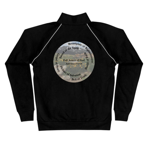 Piped Fleece Jacket,  The Full Armor of God, Bible Verse Ephesians 6:10-28, Beautiful Bible Verse and Mountains Jacket