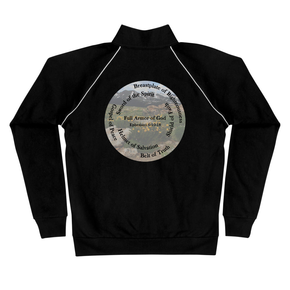 Piped Fleece Jacket,  The Full Armor of God, Bible Verse Ephesians 6:10-28