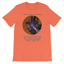 Load image into Gallery viewer, Shirt. Christian Religious Halloween Jesus is the light, John 8:12, Shirt.