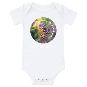 T-Shirt, New beginnings start with Jesus. Customize your child's name - Bodysuit.