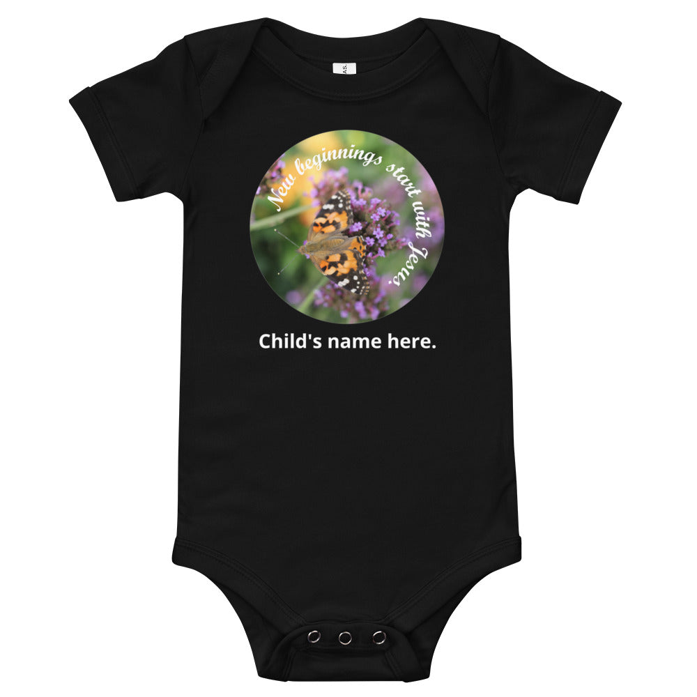 T-Shirt, New beginnings start with Jesus. Customize your child's name, one piece.