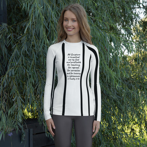 Women's Rash Guard, Black and White, 2 Timothy 3:16 - All Scripture is breathed out by God..., Shirt