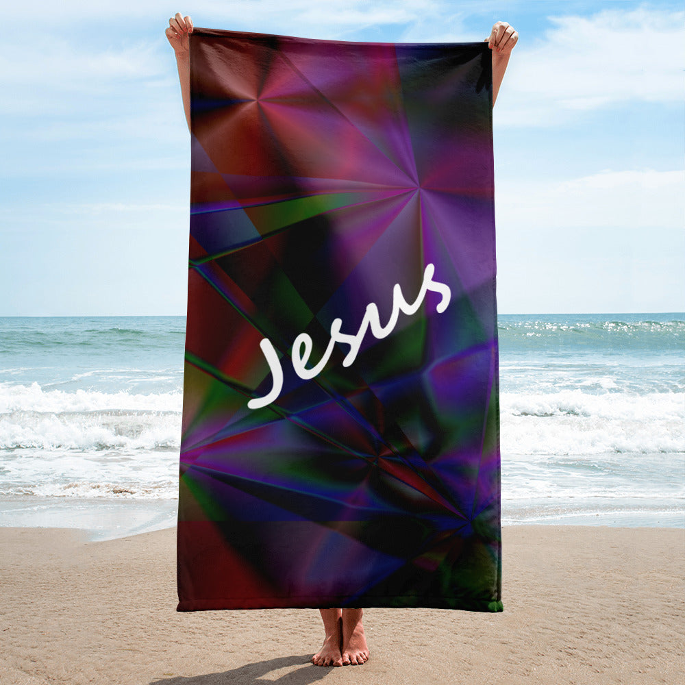 Stained Glass Beach Towel with Jesus' Name