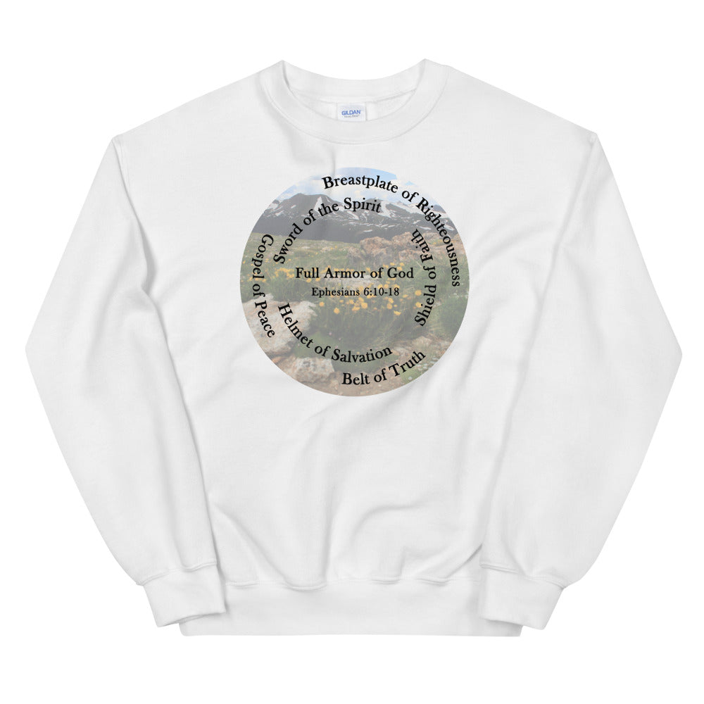 Sweatshirt, Whole Armor of God, Bible Verse Ephesians 6:10-18, Beautiful Bible Verse and Flowers Sweatshirt