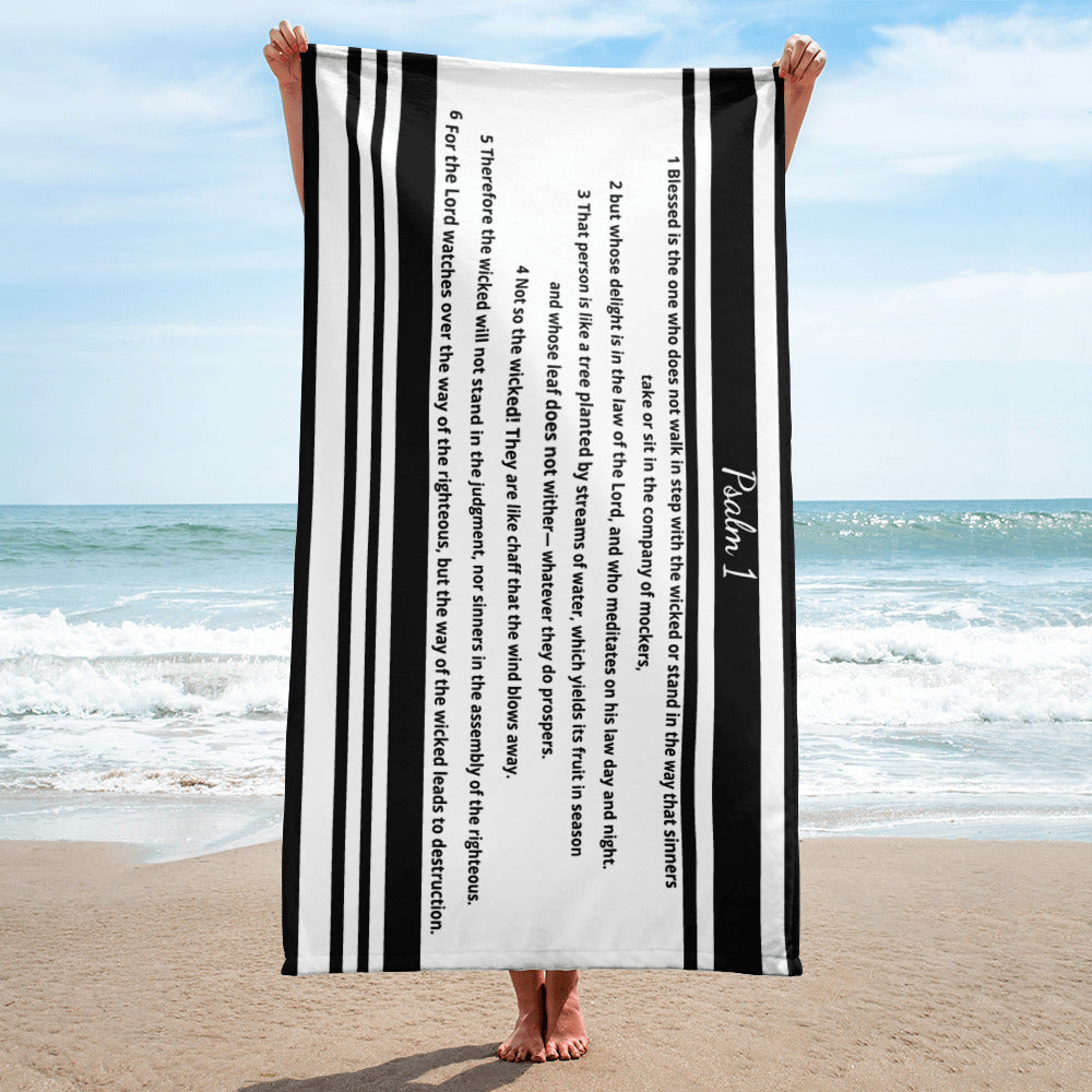 Beach Towel, Bible Verse Psalm 1, Scripture Beach Towels