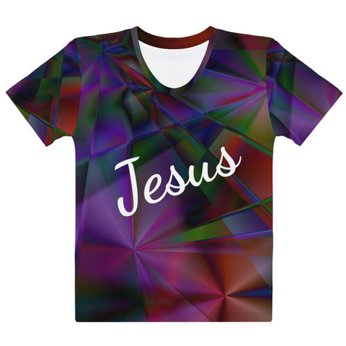 Shirt, Stain Glass Design with Cross and Jesus' Name Women's T-shirt