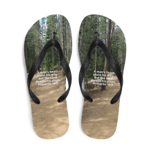 Load image into Gallery viewer, Flip-Flops, A man's heart plans his way,  but the Lord directs his steps. Proverbs 16:9 Flip Flops