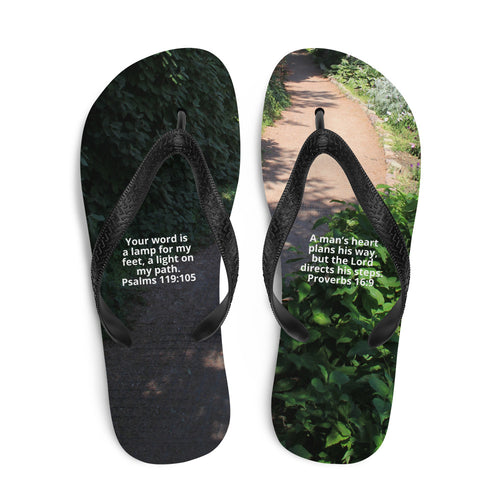 Flip-Flops, A man's heart plans his way, but the Lord directs his steps. Bible Verse Scripture of Christian Faith and Jesus, Proverbs 16:9 and Psalm 119:105 Flip Flops