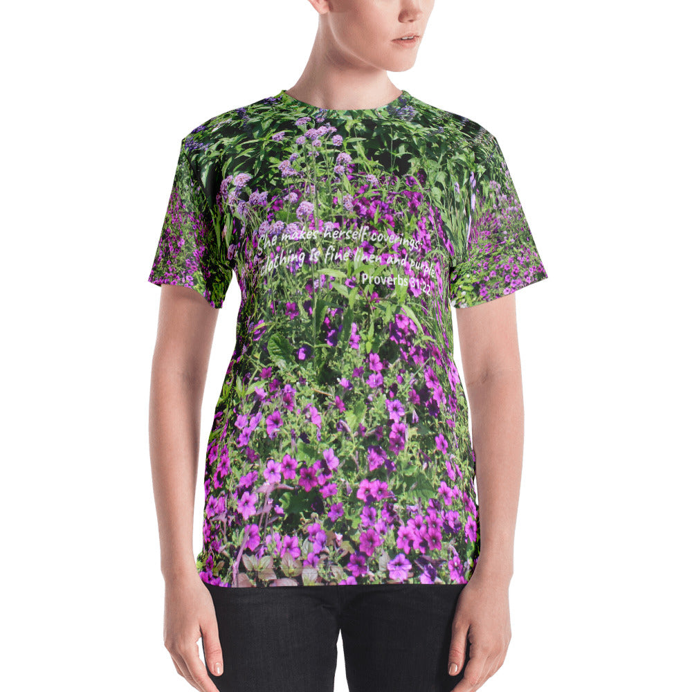 Women's T-Shirt, Purple Flowers and Proverbs 31:22 T-Shirt