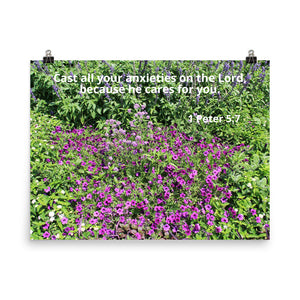 Beautiful Poster with Bible Scripture, 1 Peter 5:7, and Purple Flowers.