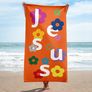 Jesus Flower Beach Towel