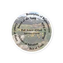 Load image into Gallery viewer, Bubble-free stickers, The Full Armor of God, Bible Verse Ephesians 6:11, Beautiful Bible Verse Mountains and Flowers Sticker