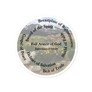 Bubble-free stickers, The Full Armor of God, Bible Verse Ephesians 6:11, Beautiful Bible Verse Mountains and Flowers Sticker