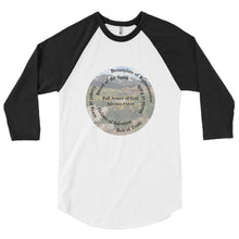 Load image into Gallery viewer, 3/4 sleeve raglan shirt, The Full Armor of God, Bible Verse Ephesians 6:11, Beautiful Bible Verse and Mountains Shirt