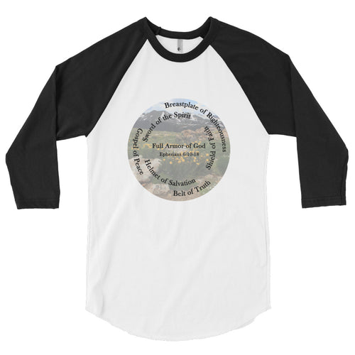 3/4 sleeve raglan shirt, The Full Armor of God, Bible Verse Ephesians 6:11