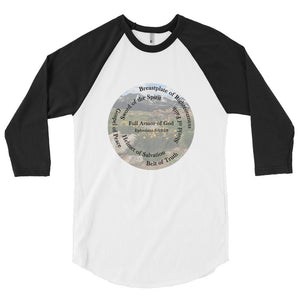 3/4 sleeve raglan shirt, The Full Armor of God, Bible Verse Ephesians 6:11, Beautiful Bible Verse and Mountains Shirt