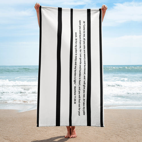 Towel, Bible Verse Matthew 11:28-30, Scripture Beach Towel