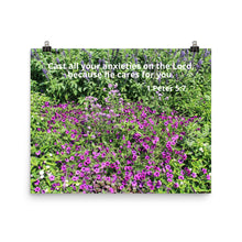 Load image into Gallery viewer, Beautiful Poster with Bible Scripture, 1 Peter 5:7, and Purple Flowers.