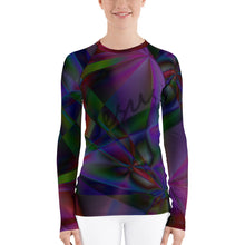 Load image into Gallery viewer, Stain Glass Design with Cross and Jesus, Women's Rash Guard Long Sleeve Faith Shirt