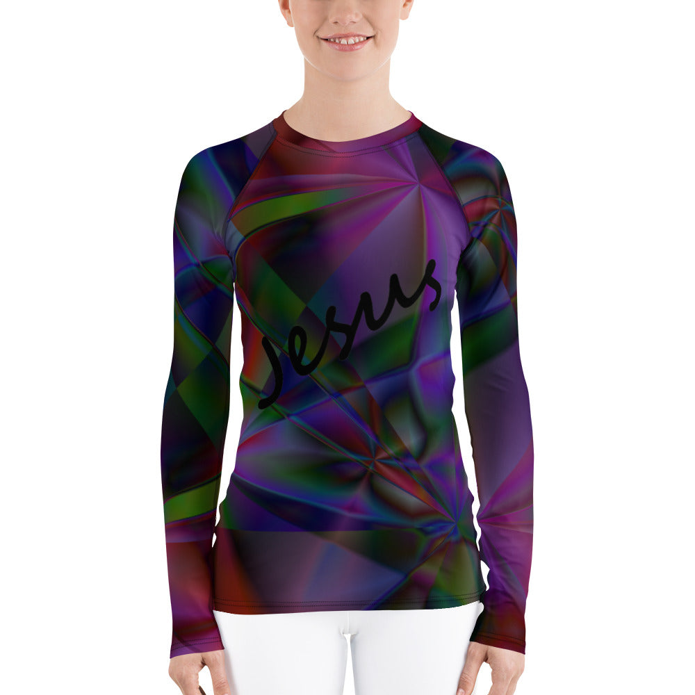 Stain Glass Design with Cross and Jesus's Name. Women's Rash Guard