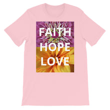 Load image into Gallery viewer, Short-Sleeve Unisex T-Shirt, Faith Hope Love Shirt