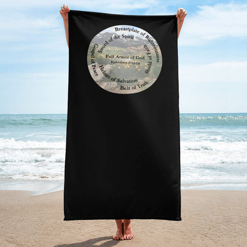Towel, Whole Armor of God, Bible Verse Ephesians 6:10-18, Beautiful Bible Verse and Flowers Beach Towel