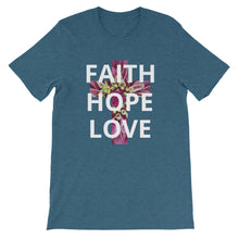 Load image into Gallery viewer, Short-Sleeve Unisex T-Shirt, Cross with Faith Hope Love Floral on Shirt