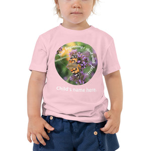 Toddler Short Sleeve Tee, New beginnings start with Jesus. Customize child's name