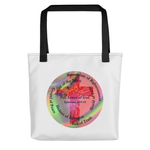 Tote bag, Whole Armor of God, Ephesians 6:10-18, Beautiful Bible Verse with Cross and Flowers Tote Bad