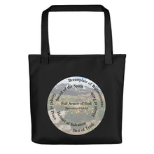 Load image into Gallery viewer, Tote bag, Whole Armor of God, Bible Verse Ephesians 6:10-18, Beautiful Bible Verse and Flowers Tote bag