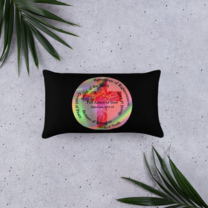 Pillow, The Full Armor of God, Bible Verse Ephesians 6:11, Beautiful Bible Verse and Flowers Throw Pillow