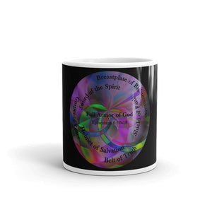 Colorful Jesus Joy Coffee Mug, with The Full Armor of God, Bible Verse Ephesians 6:10-18