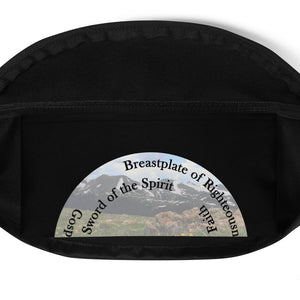 Fanny Pack, •  Whole Armor of God, Bible Verse Ephesians 6:10-18, Beautiful Bible Verse and Mountains Fannypack