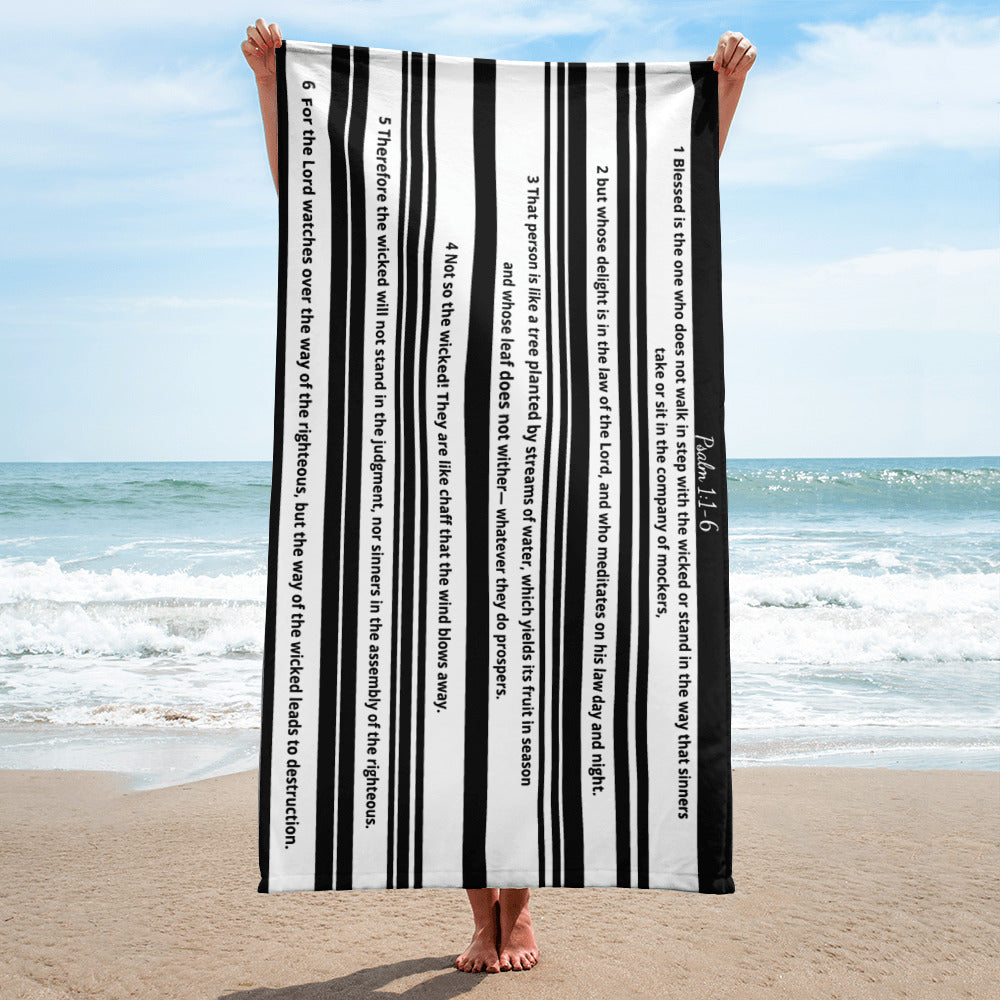 Beach Towel, Bible Verse Psalm 1:1-6, Scripture Beach Towel