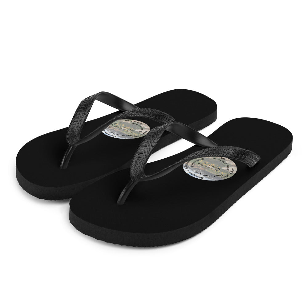 Flip-Flops, The Full Armor of God, Bible Verse Ephesians 6:11, Beautiful Bible Verse and Mountains Flip Flops.
