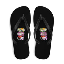 Load image into Gallery viewer, Faith Hope Love Flip Flops